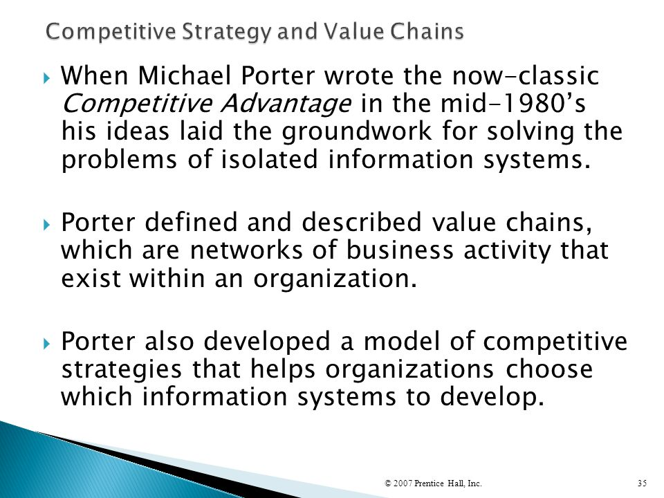 Competitive Strategy and Value Chains