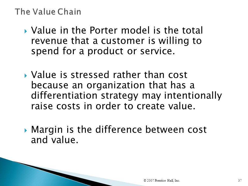 Margin is the difference between cost and value.