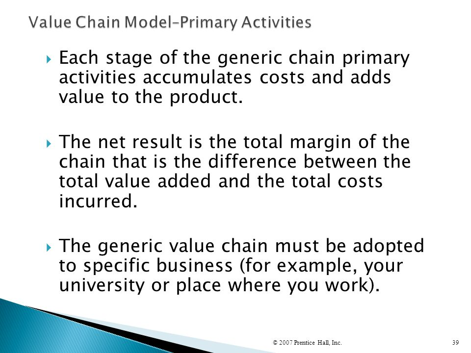 Value Chain Model–Primary Activities