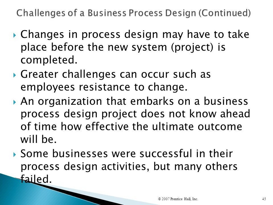 Challenges of a Business Process Design (Continued)