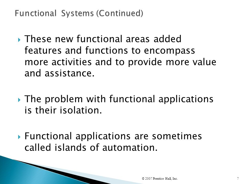 Functional Systems (Continued)