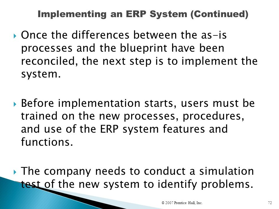 Implementing an ERP System (Continued)