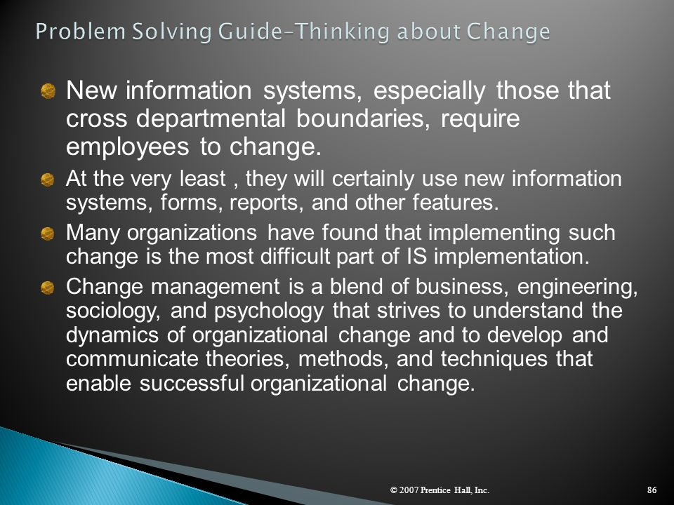 Problem Solving Guide–Thinking about Change