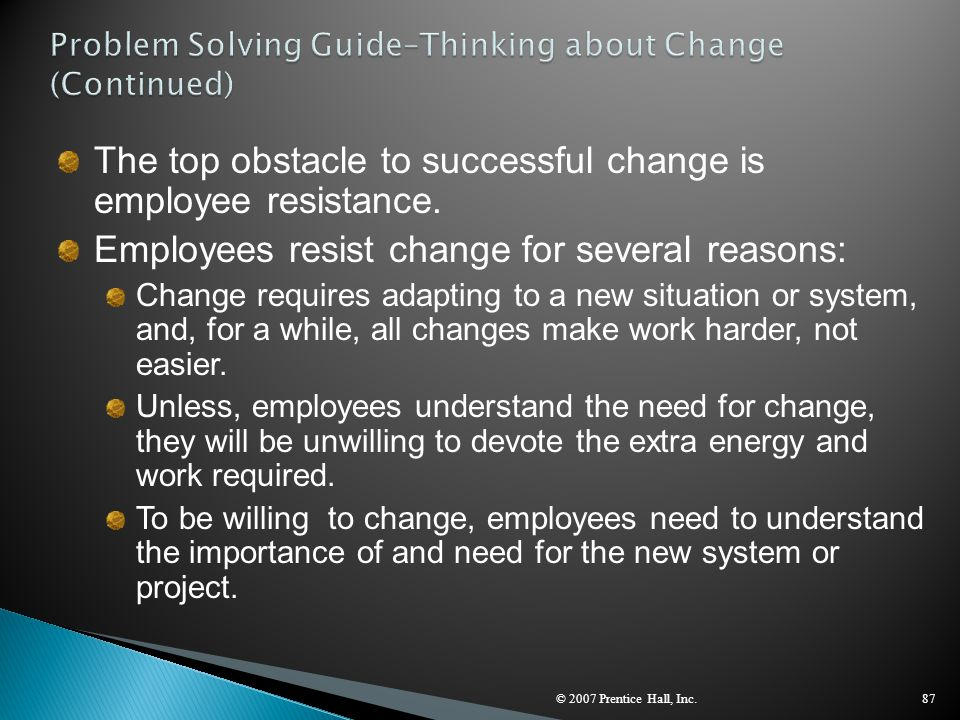Problem Solving Guide–Thinking about Change (Continued)
