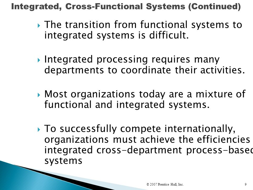 Integrated, Cross-Functional Systems (Continued)