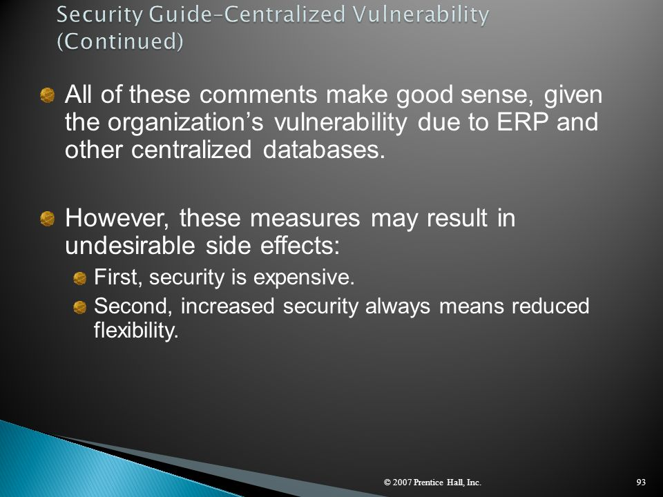 Security Guide–Centralized Vulnerability (Continued)