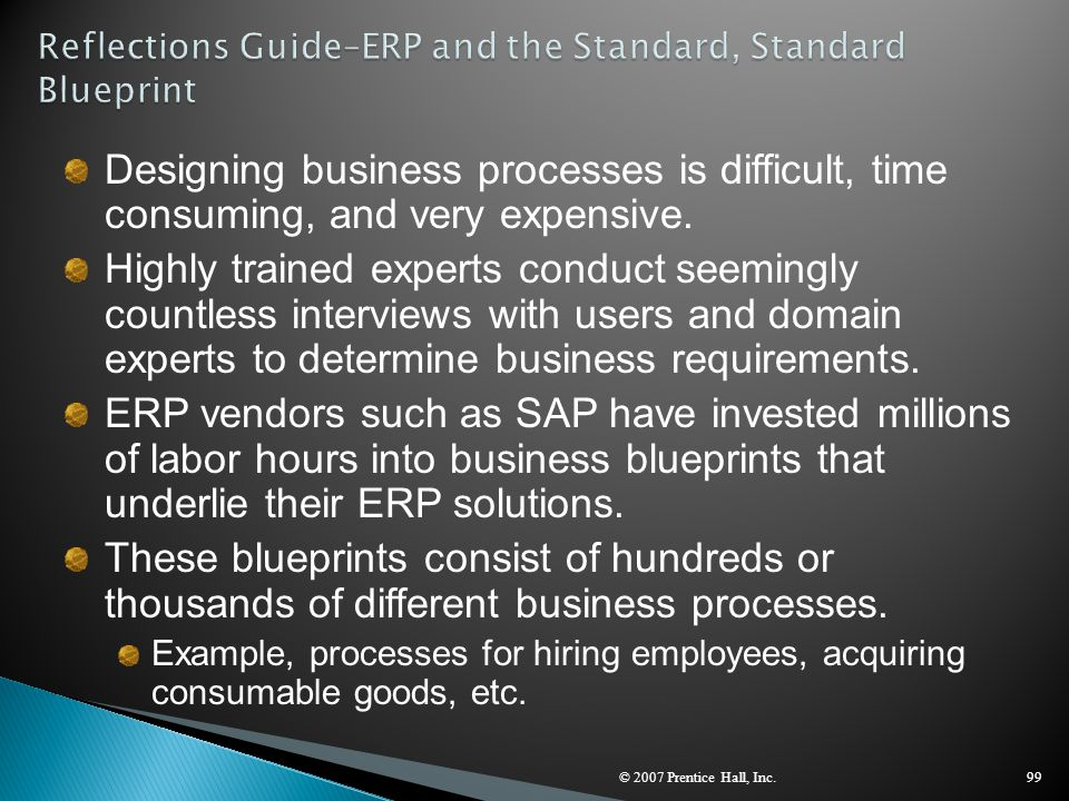 Reflections Guide–ERP and the Standard, Standard Blueprint