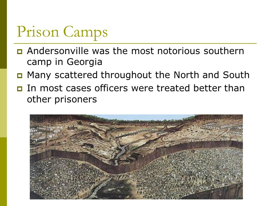Prison Camps Andersonville was the most notorious southern camp in Georgia. Many scattered throughout the North and South.