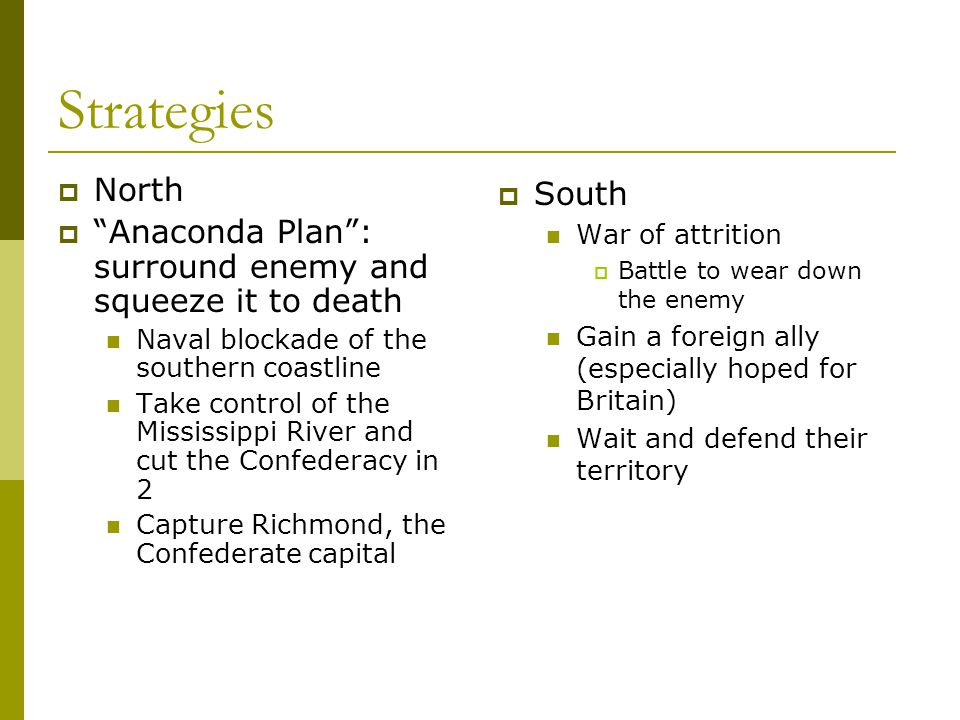 Strategies North. Anaconda Plan : surround enemy and squeeze it to death. Naval blockade of the southern coastline.