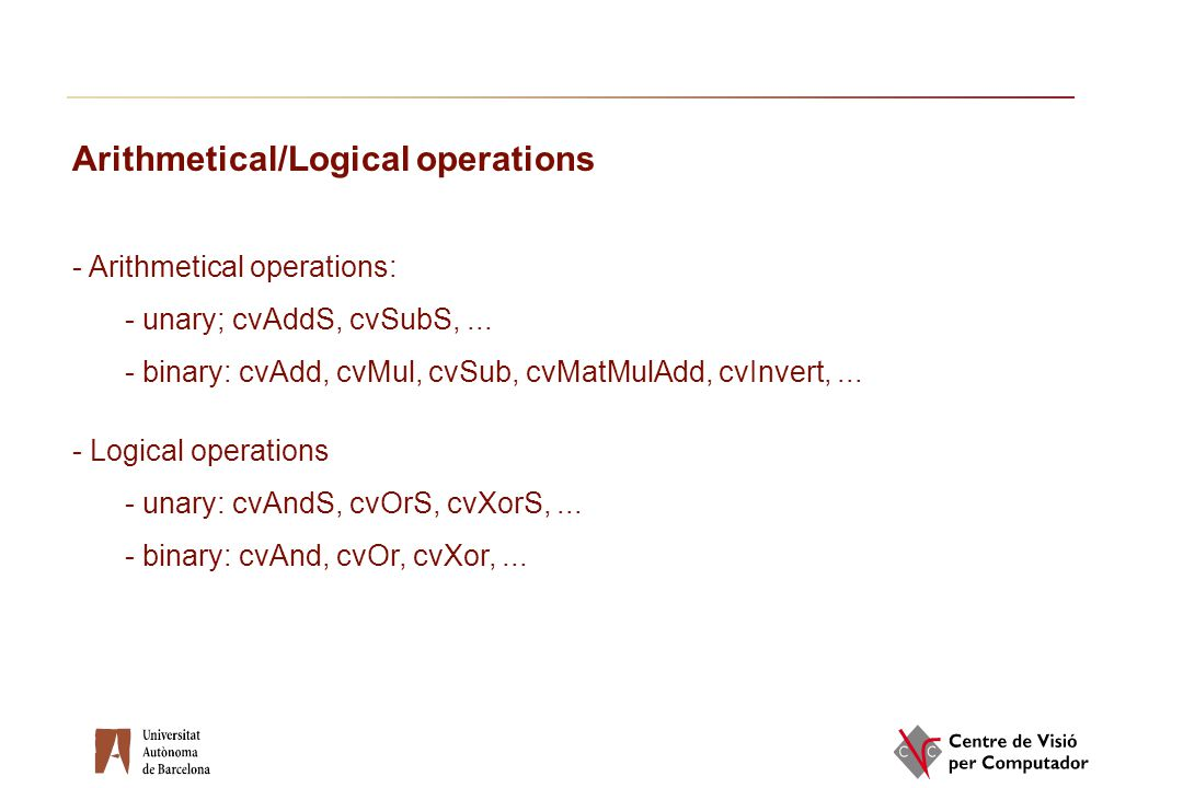 Arithmetical/Logical operations
