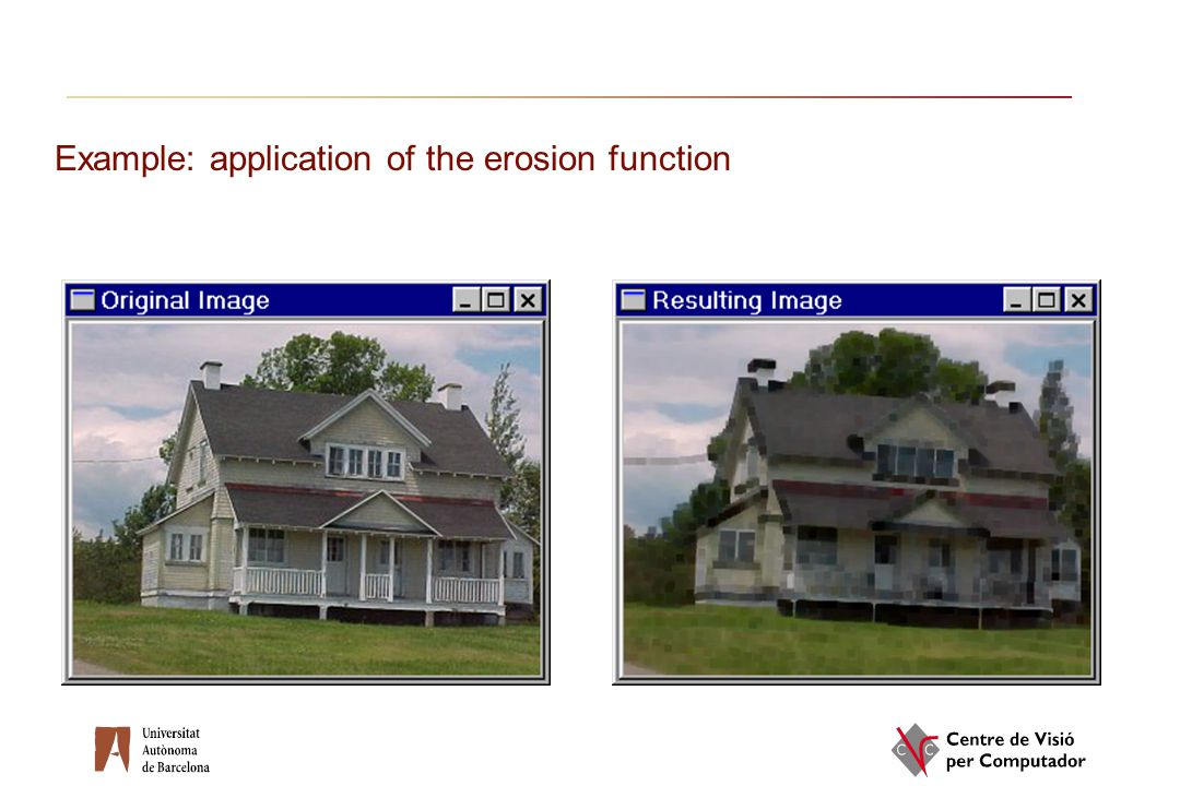 Example: application of the erosion function