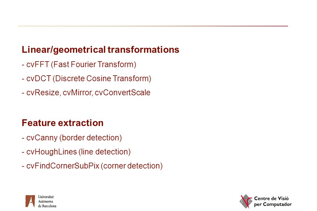 Linear/geometrical transformations
