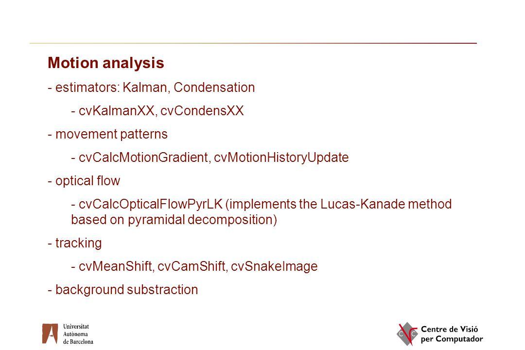 Motion analysis estimators: Kalman, Condensation