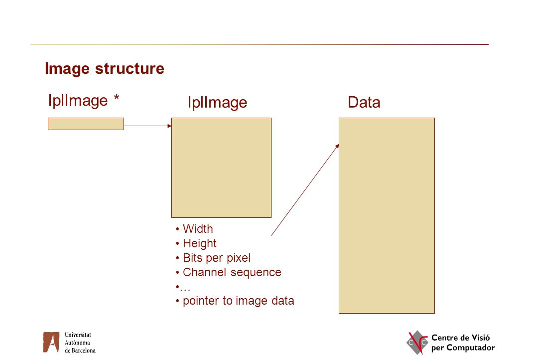 Image structure IplImage * IplImage Data Width Height Bits per pixel