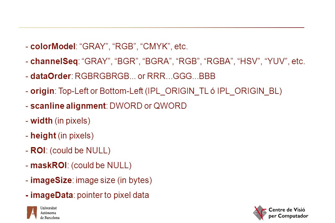 colorModel: GRAY , RGB , CMYK , etc.