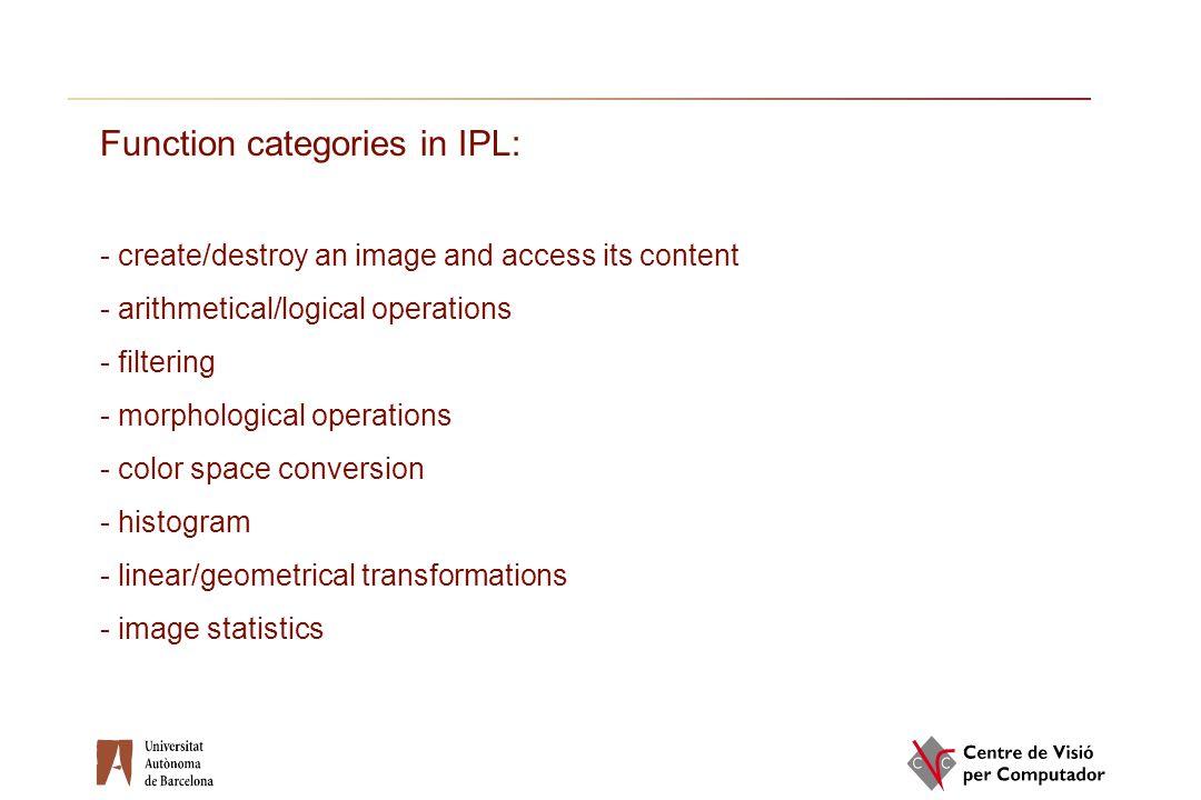Function categories in IPL: