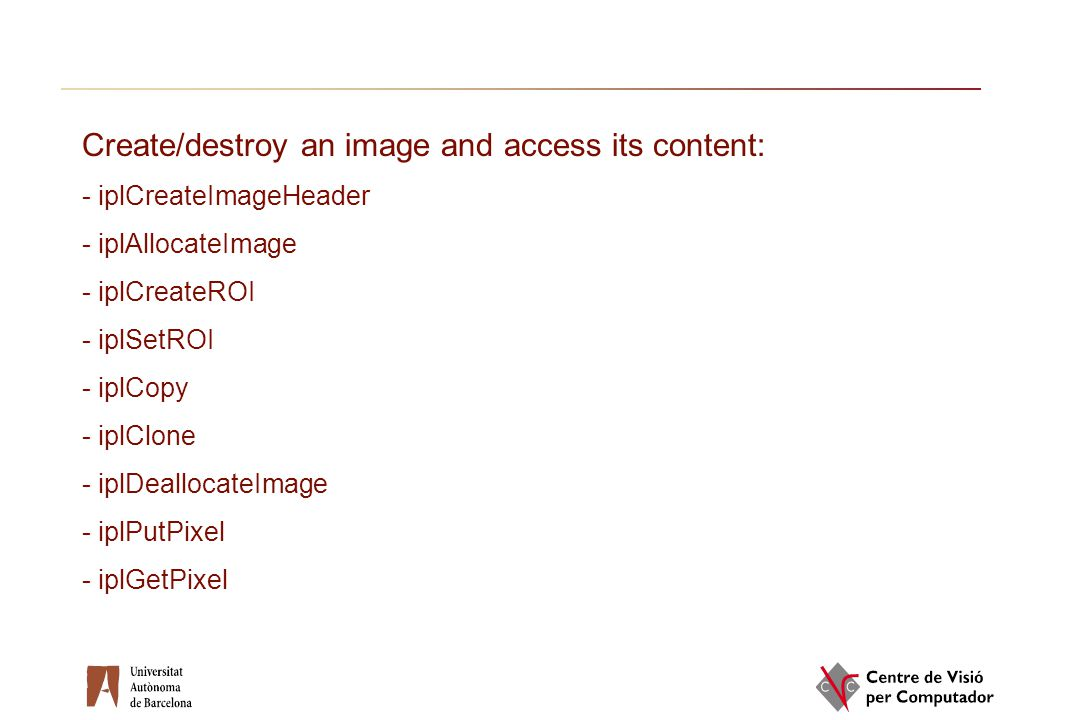 Create/destroy an image and access its content: