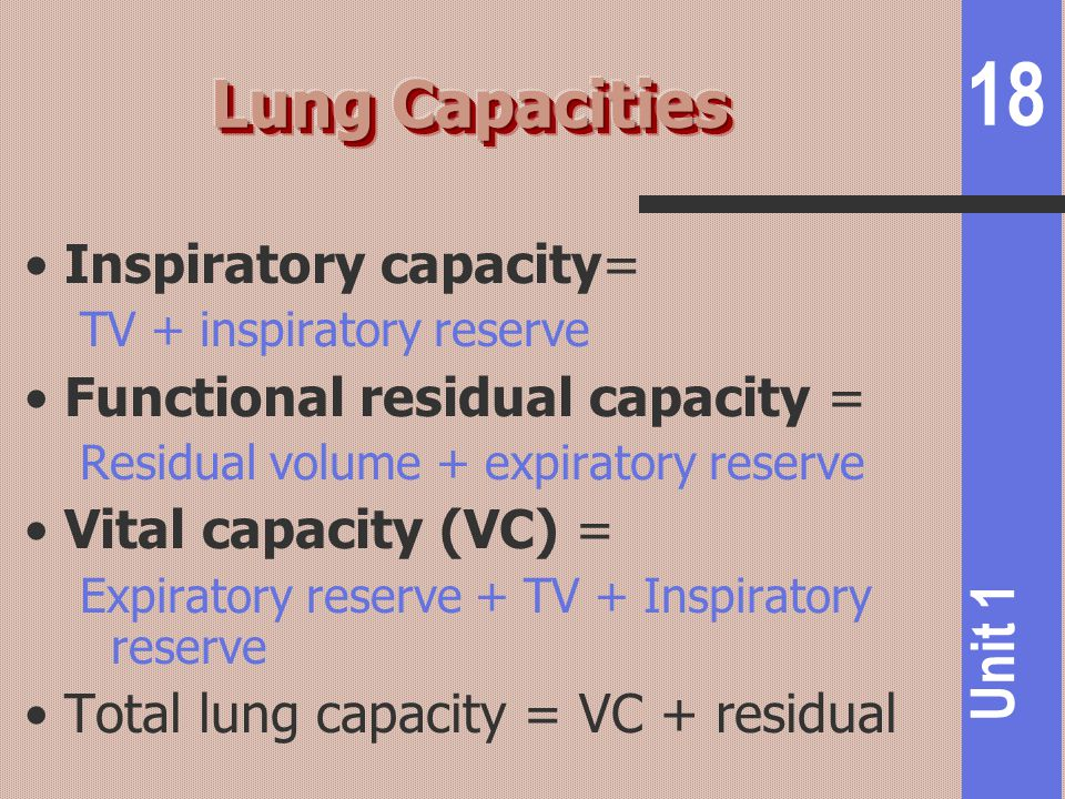 Lung Capacities Inspiratory capacity= Functional residual capacity =