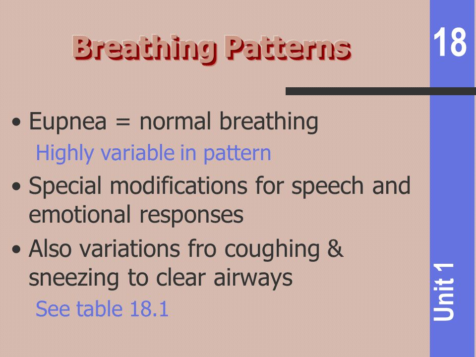 Breathing Patterns Eupnea = normal breathing