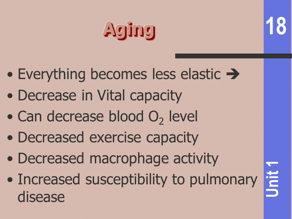 Aging Everything becomes less elastic  Decrease in Vital capacity