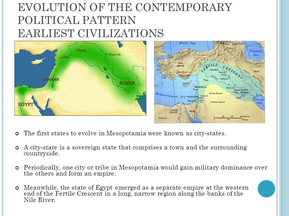 Evolution of the Contemporary political pattern Earliest Civilizations