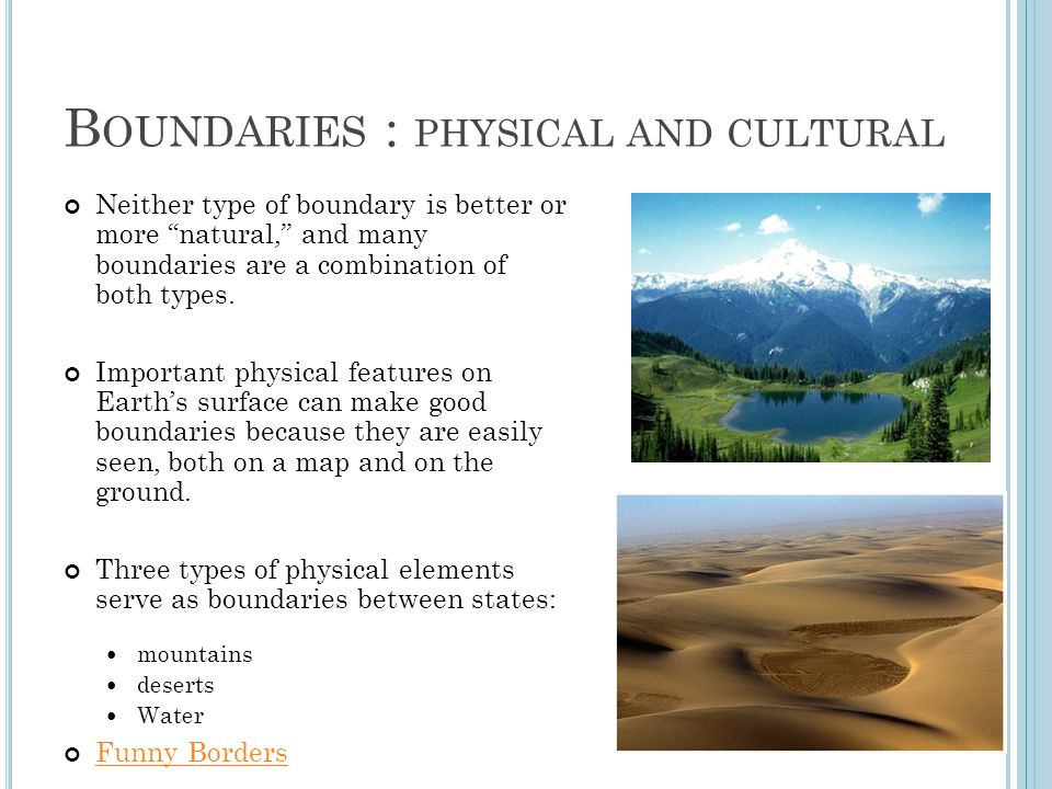 Boundaries : physical and cultural