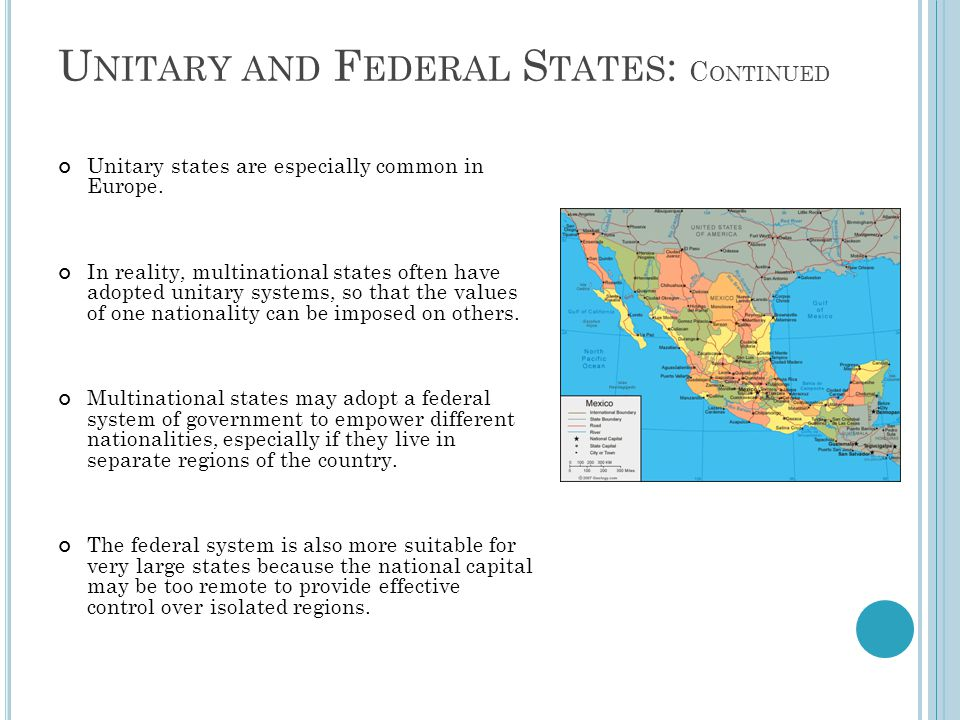 Unitary and Federal States: Continued