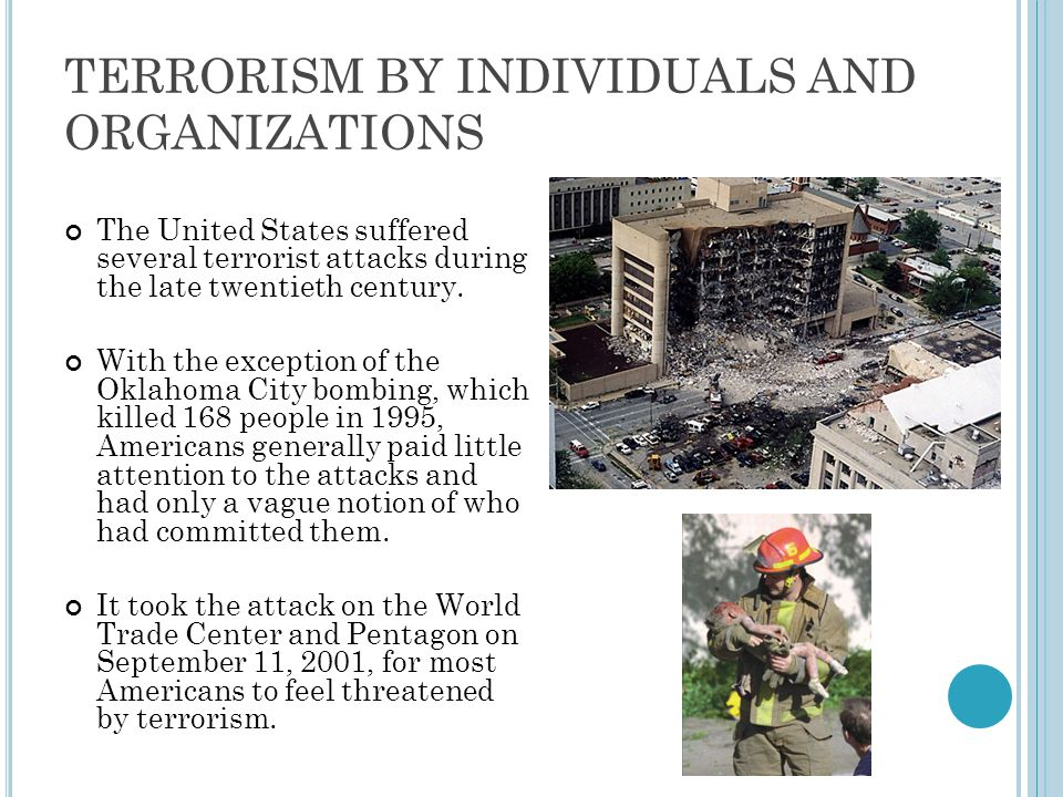 TERRORISM BY INDIVIDUALS AND ORGANIZATIONS