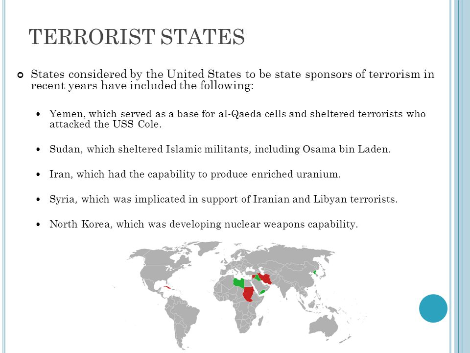 TERRORIST STATES States considered by the United States to be state sponsors of terrorism in recent years have included the following: