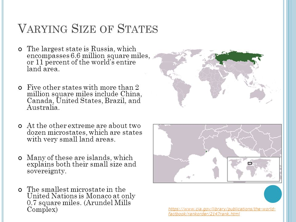 Varying Size of States The largest state is Russia, which encompasses 6.6 million square miles, or 11 percent of the world's entire land area.