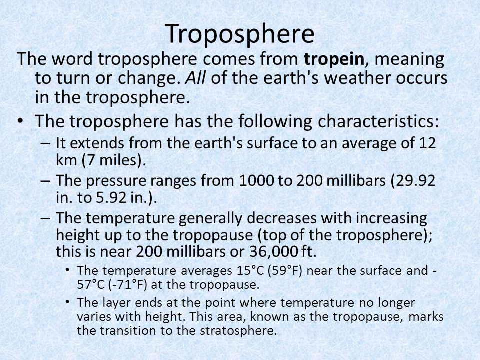 Troposphere The word troposphere comes from tropein, meaning to turn or change. All of the earth s weather occurs in the troposphere.