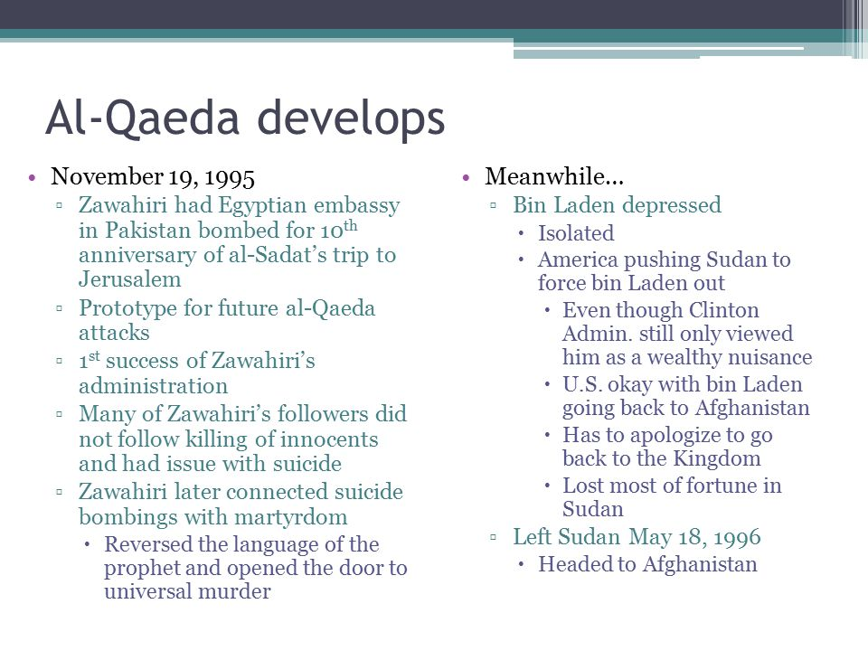 Al-Qaeda develops November 19, 1995 Meanwhile…