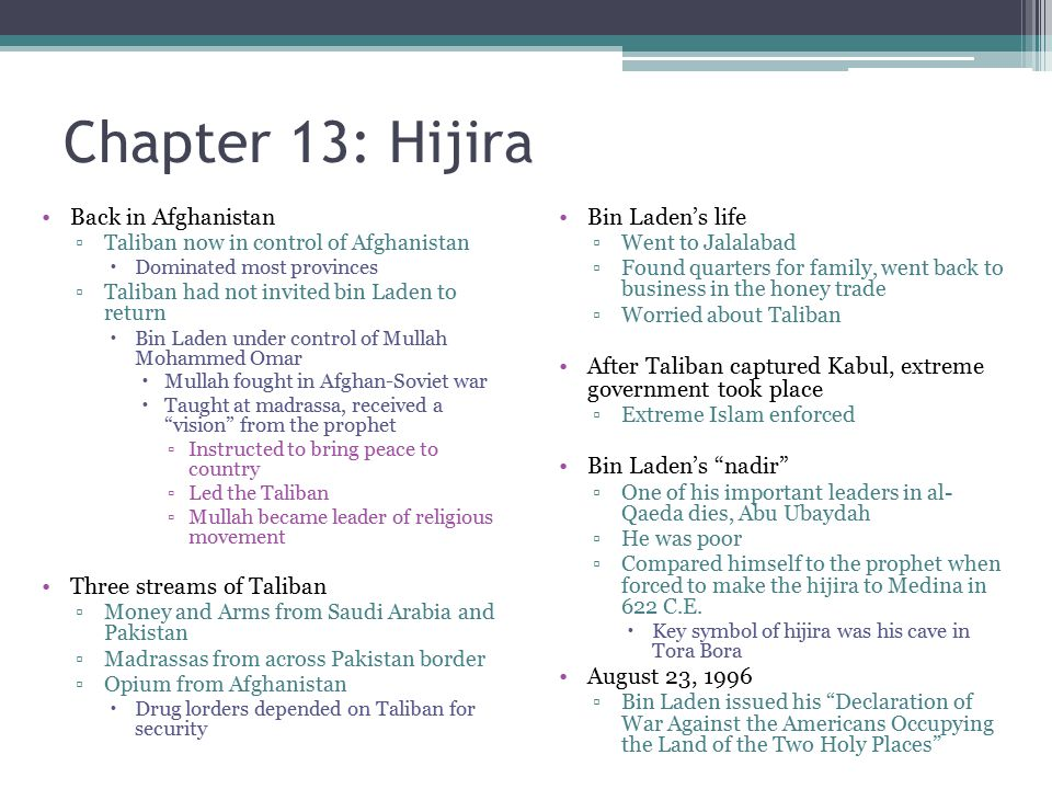 Chapter 13: Hijira Back in Afghanistan Three streams of Taliban