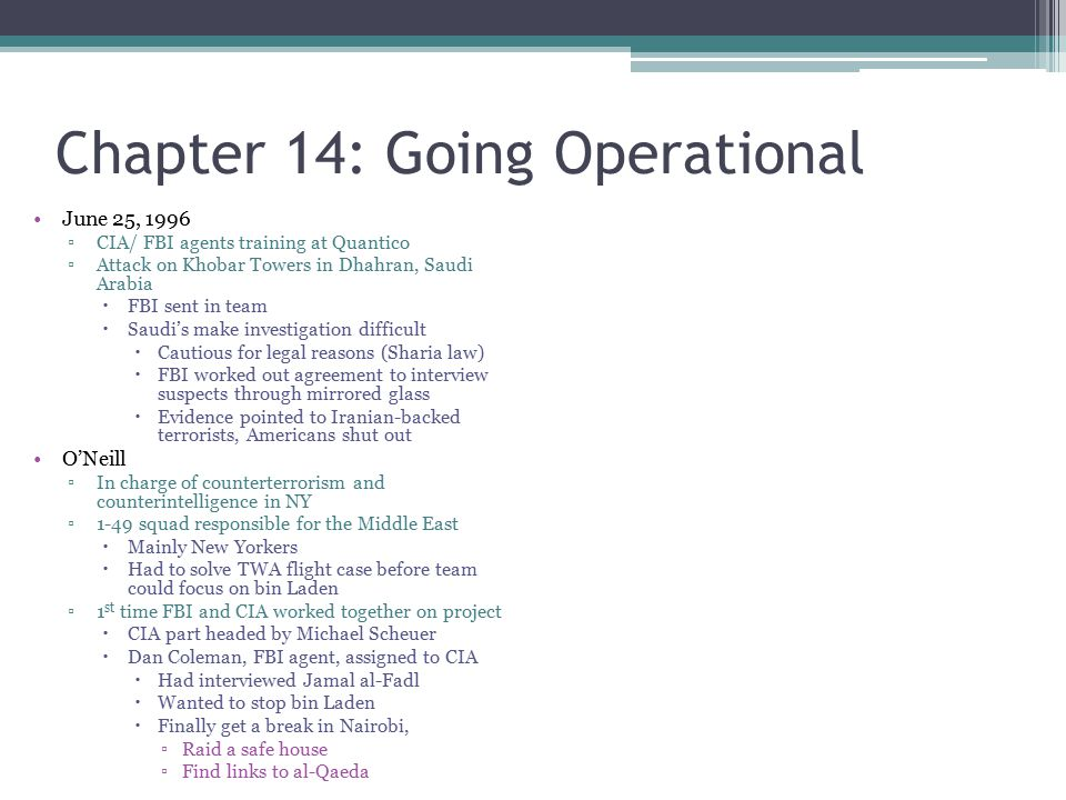 Chapter 14: Going Operational