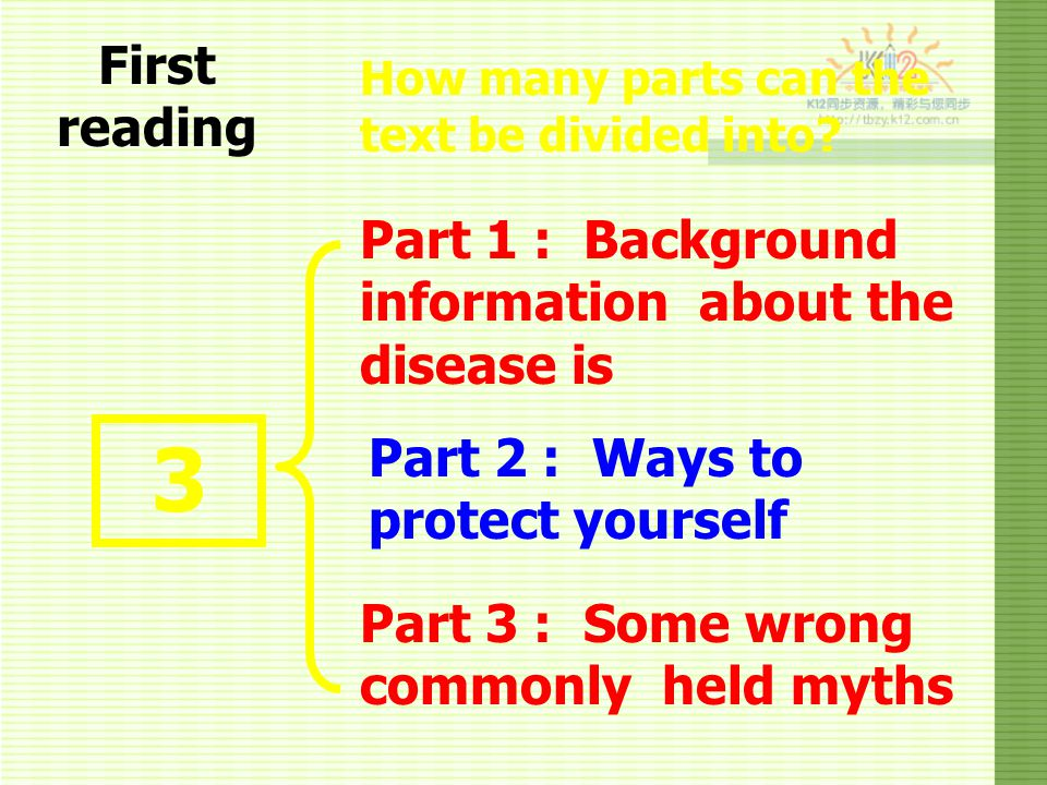 3 First reading Part 1 : Background information about the disease is