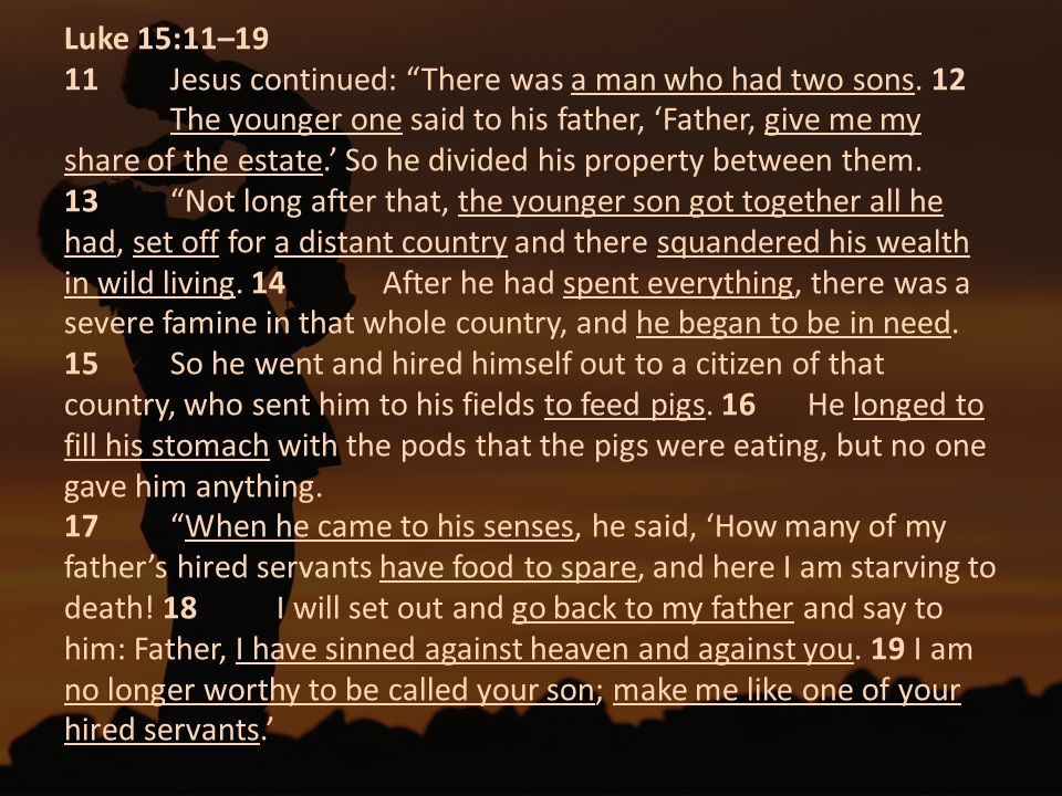 Luke 15:11– Jesus continued: There was a man who had two sons
