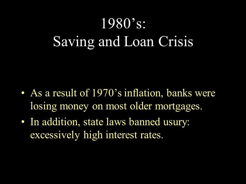 1980's: Saving and Loan Crisis