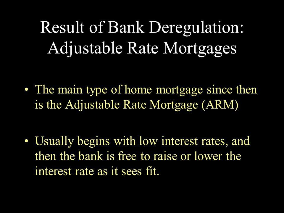Result of Bank Deregulation: Adjustable Rate Mortgages
