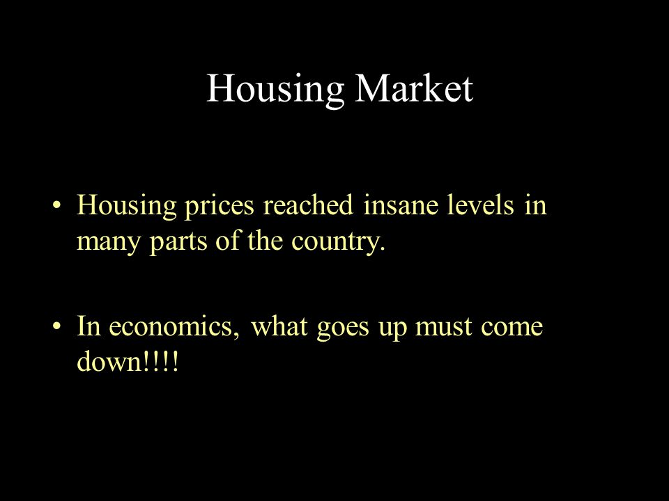 Housing Market Housing prices reached insane levels in many parts of the country.
