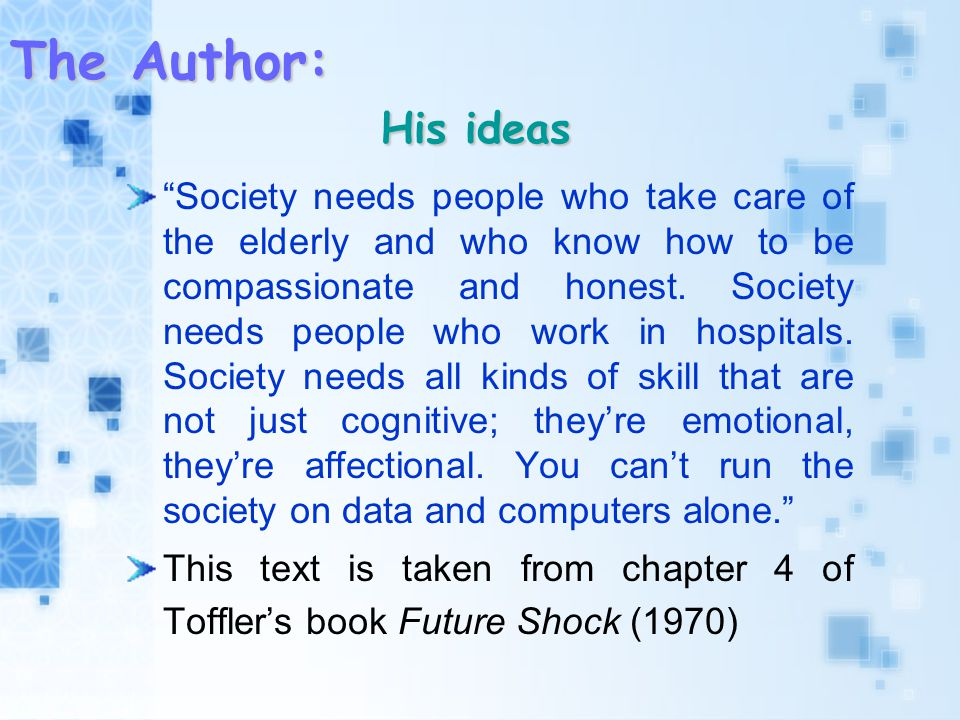 The Author: His ideas