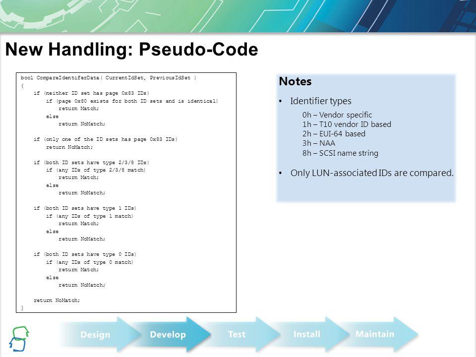 New Handling: Pseudo-Code