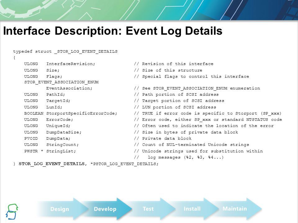 Interface Description: Event Log Details