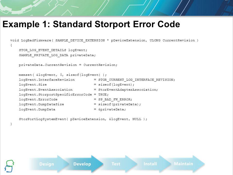 Example 1: Standard Storport Error Code