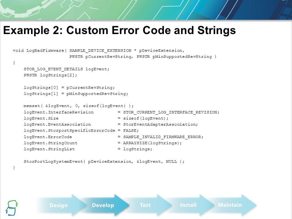 Example 2: Custom Error Code and Strings