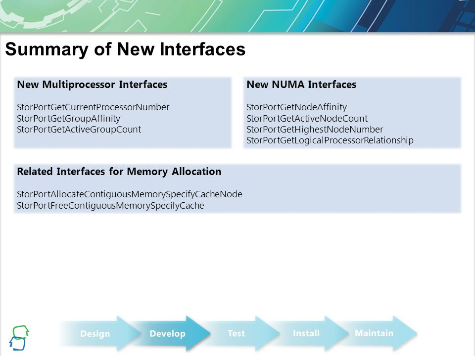 Summary of New Interfaces