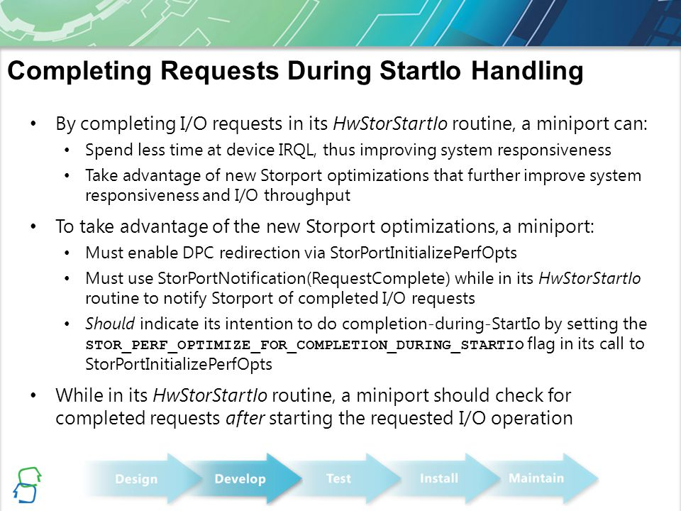 Completing Requests During StartIo Handling