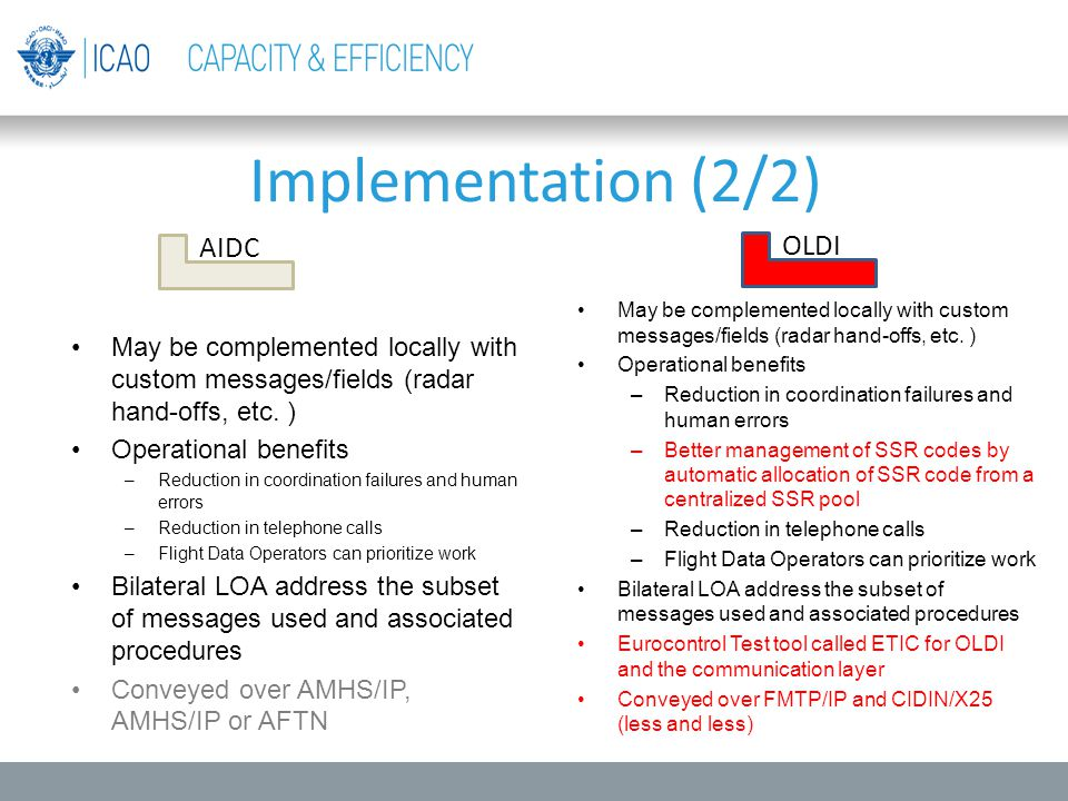 Implementation (2/2) AIDC OLDI