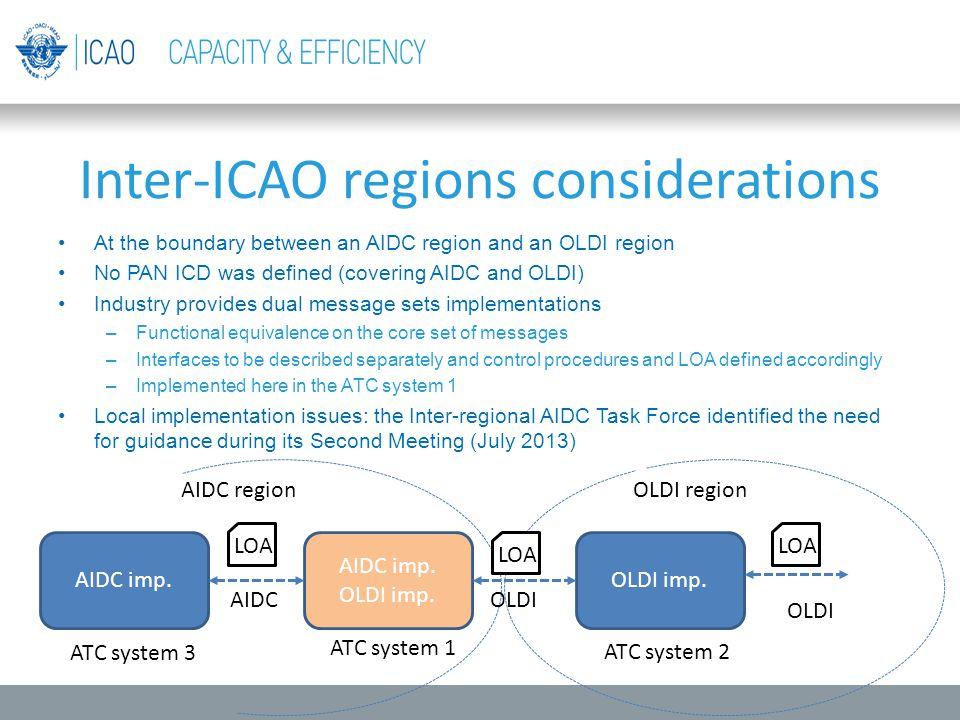 Inter-ICAO regions considerations