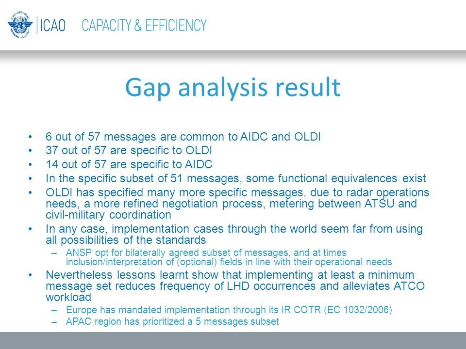 Gap analysis result 6 out of 57 messages are common to AIDC and OLDI
