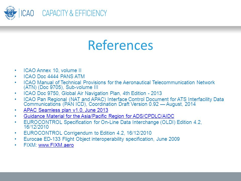 References ICAO Annex 10, volume II ICAO Doc 4444 PANS ATM